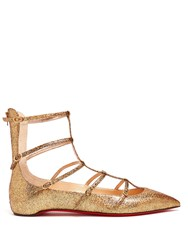 Christian Louboutin Toerless Muse Multi Strap Leather Flats Gold