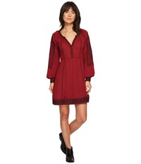 Stetson 1496 Poly Crepe Long Sleeve Loose Dress Wine Women's Dress Burgundy