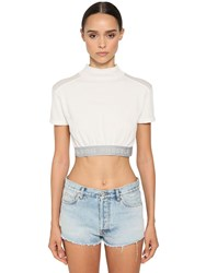 Heron Preston Cropped Cotton Jersey Top W Logo Band White