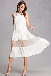 Forever 21 Crochet Overlay Midi Dress Ivory