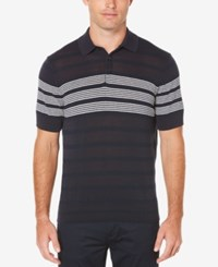 Perry Ellis Striped Cotton Polo Sweater Dark Sapphire