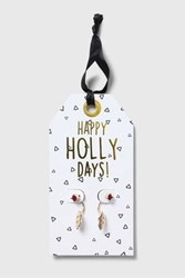Topshop Christmas 'Happy Holly Days' Earrings Gold