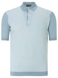 John Smedley Horst 3 Button Polo Shirt Blue Glass White