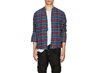 Greg Lauren Plaid Cotton Flannel Studio Shirt Blue