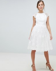 Chi Chi London Premium Lace Midi Dress White