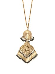 Etro Embellished Medallion Necklace Black Gold