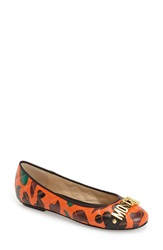 Moschino Camo Flat Women Red Black Leather