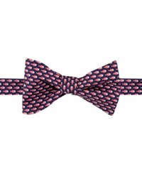 Tommy Hilfiger Men's Micro Fish Print To Tie Bow Tie Red