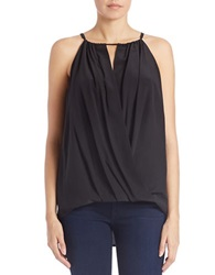 Trina Turk Draped Silk Halter Top Black