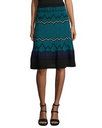 M Missoni Frequency Zigzag Skirt Size 38 Blue Teal