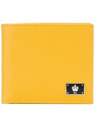 Dolce And Gabbana Crown Logo Plaque Billfold Wallet Yellow Orange