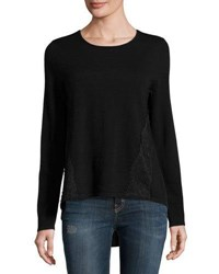 Marled By Reunited Lace Trim Crepe Panel Sweater Black