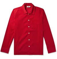 Sleepy Jones Henry Cotton Corduroy Pyjama Shirt Red
