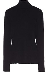 Versace Button Embellished Ribbed Merino Wool Sweater Midnight Blue