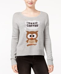 Almost Famous Juniors' I Need Coffee Owl Graphic Sweater Heather Grey