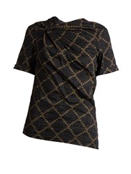 Etoile Isabel Marant Jancis Geometric Print Cotton Top Black Multi