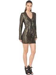 Roberto Cavalli Fringed Coated Cotton Knit Dress