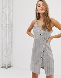 Qed London Button Front Cami Strap Dress In Grey Check Navy