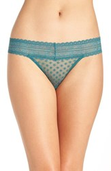 Free People Women's Lace Trim Thong Dark Green