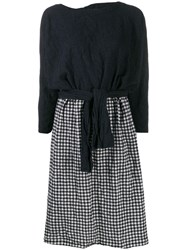 Daniela Gregis Contrast Panel Wool Dress Blue