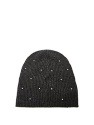 Marc Jacobs Crystal Embellished Wool Blend Beanie Hat Grey