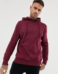 Pull And Bear Hoodie In Burgundy Red