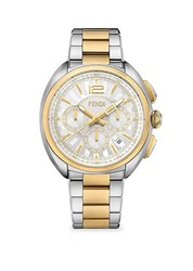 Fendi Momento Two Tone Stainless Steel Chronograph Watch Silver