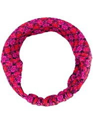 Missoni Knitted Patterned Headband Pink And Purple