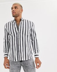 Bershka Vertical Striped Shirt In Grey And White