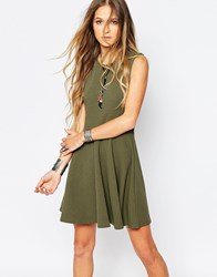 Daisy Street Skater Dress With Lace Up Back Green