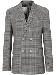 Burberry Slim Fit Check Wool Double Breasted Jacket Grey