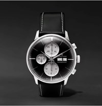 Junghans Meister Chronoscope 40Mm Stainless Steel And Leather Watch Ref. No. 027 4525.01 Black