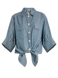 Chloe Cotton Chambray Shirt Light Blue