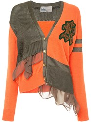 Kolor Slouchy Patchwork Cardigan Yellow And Orange