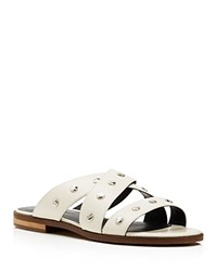 Rebecca Minkoff Susie Studded Slide Sandals White Silver