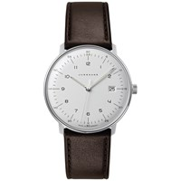 Junghans 041 4461.00 Men's Max Bill Stainless Steel Leather Strap Watch Brown White