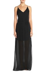 Women's Rory Beca 'Harlow' Belted Silk Georgette Deep V Back Gown Onyx
