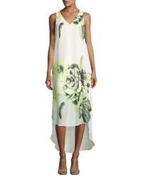 Tahari By Arthur S. Levine Floral V Neck High Low Dress White Yellow