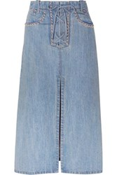Miu Miu Lace Up Studded Denim Midi Skirt Indigo