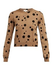 Isa Arfen Flocked Polka Dot Wool Sweater Camel