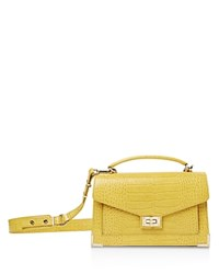 The Kooples Emily Croc Embossed Leather Medium Crossbody Yellow