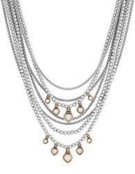 Lucky Brand Beaded Two Tone Multi Chain Necklace Two Tone