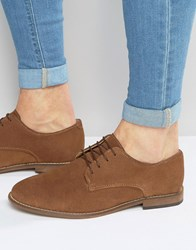 Asos Derby Shoes In Tan Suede With Natural Sole Tan