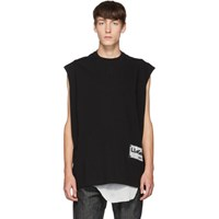 Rick Owens Black Tarp Sleeveless T Shirt