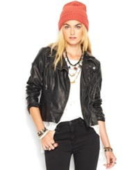 Free People Faux Leather Hooded Moto Jacket