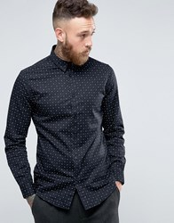 Selected Homme Longsleeve Slim Shirt In Print Black