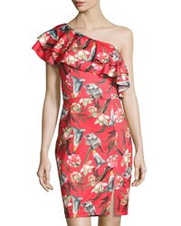Neiman Marcus Ruffled One Shoulder Floral Print Sheath Dress Red Pattern