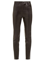 The Row Kate Stretch Leather High Waist Skinny Trousers Black