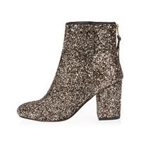 River Island Womens Gold Glitter Block Heel Ankle Boots