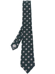 Canali Embroidered Polka Dot Tie Green